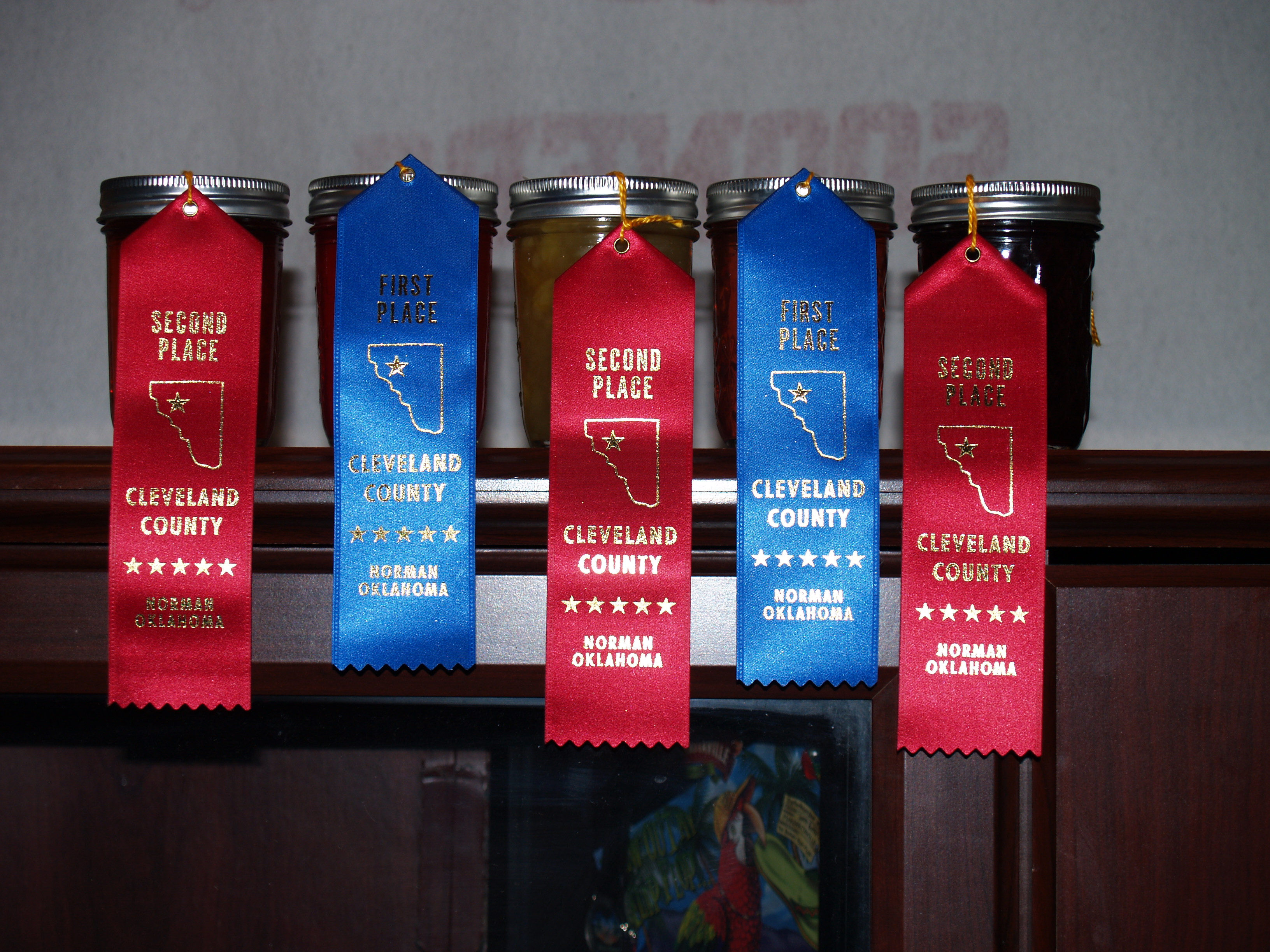 I entered twelve jars of different kinds of jelly/jam and I came home with eleven ribbons, one of them a blue first place ribbon!