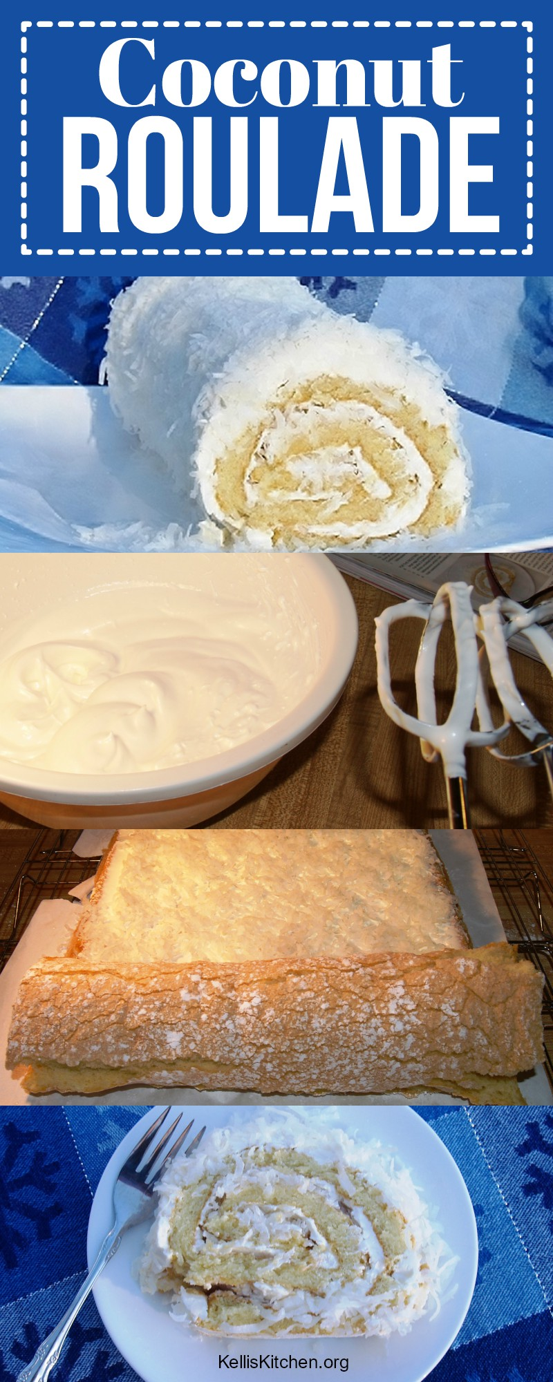 Coconut Roulade with Rum Buttercream via @KitchenKelli