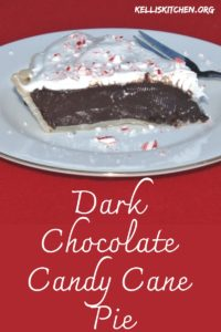 Dark Chocolate Candy Cane Pie: Dark Chocolate Pie with a Holiday Twist. Perfect for a holiday potluck or as a holiday sweet treat.