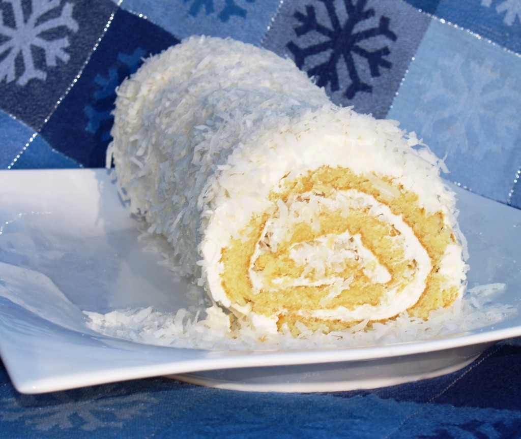 Coconut Roulade with Rum Buttercream