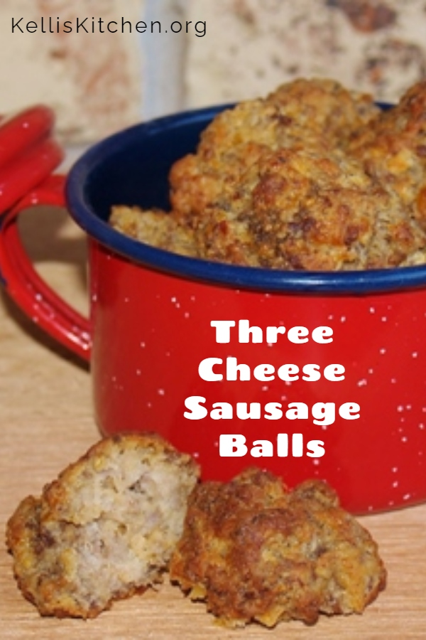 Three Cheese Sausage Balls via @KitchenKelli