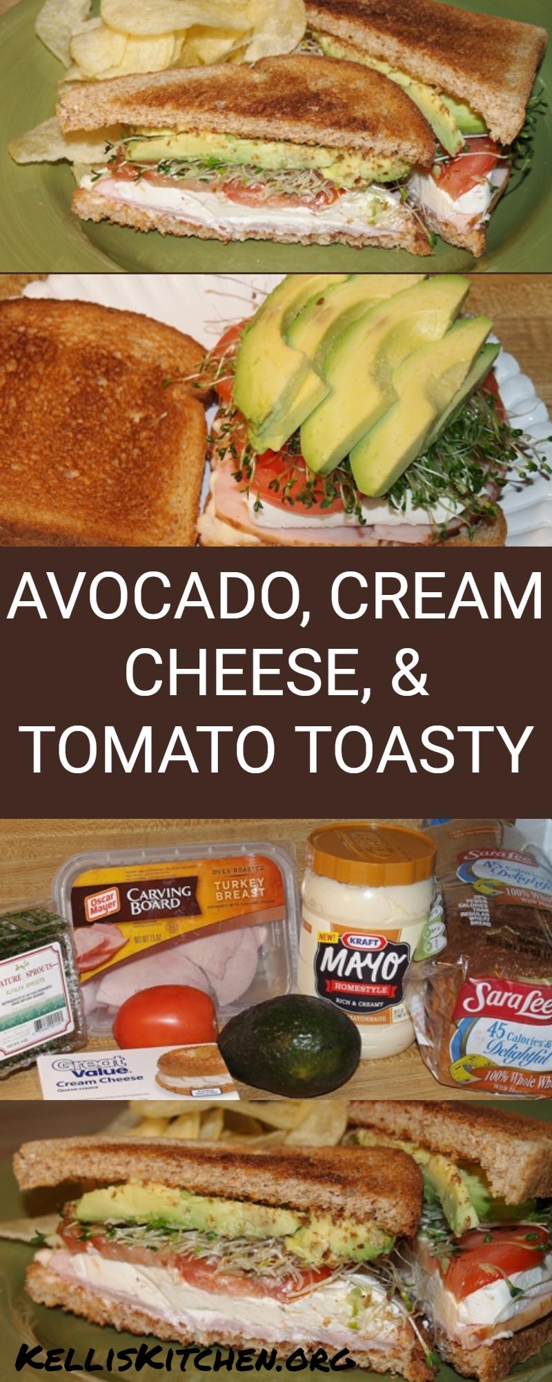 AVOCADO, CREAM CHEESE, AND TOMATO TOASTY