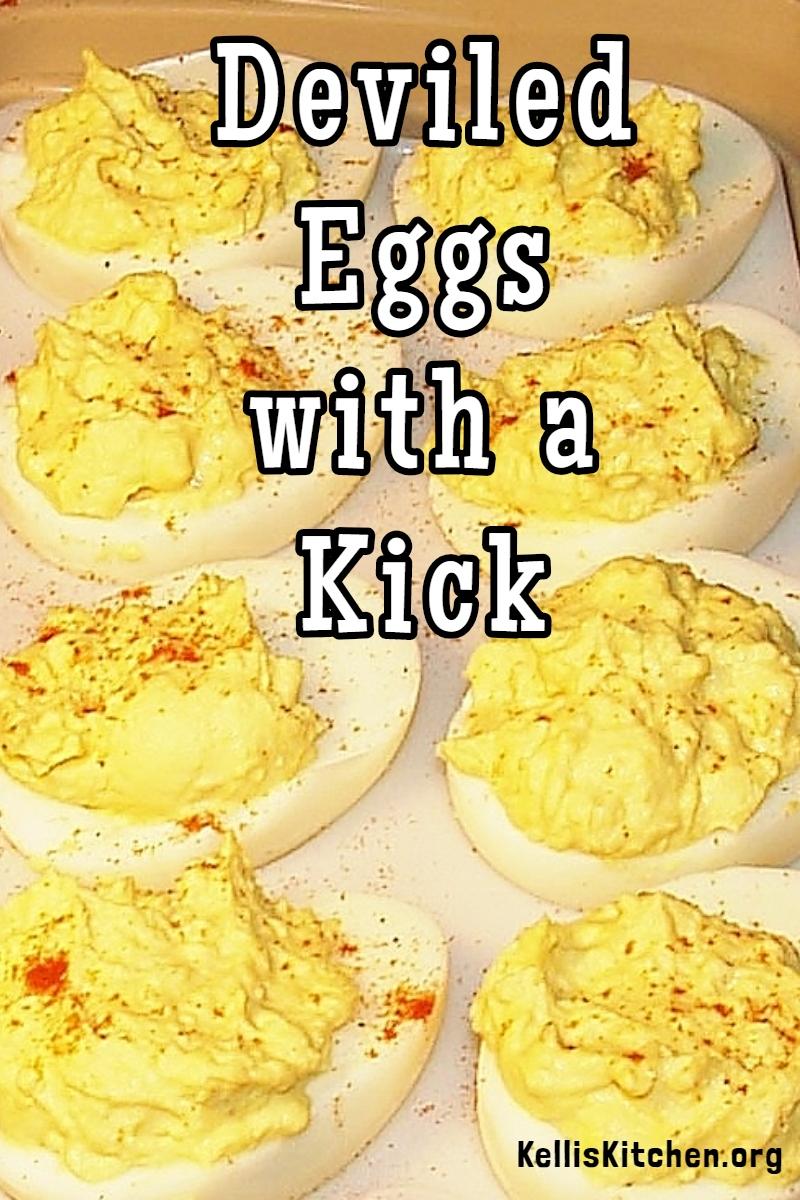 DEVILED EGGS WITH A KICK via @KitchenKelli