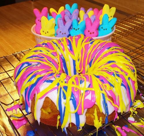 Rainbow Bundt Cake plus bonus Peeps! This cake is so easy and so pretty! From Kelli's Kitchen