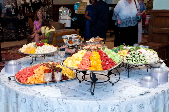 Top Girl's Wedding - buffet with co-worker in back