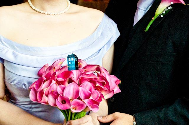 Top Girl's Wedding - Tardis on Bouquet