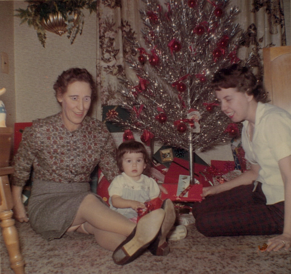 Aunt Irene, mom and me at Christmas