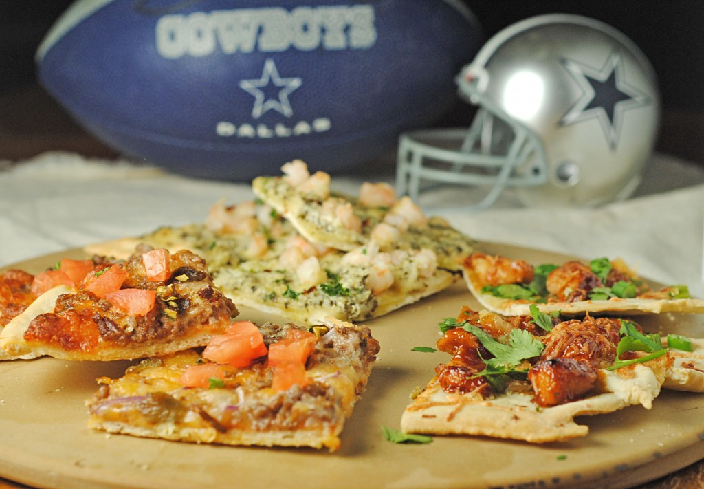 Game Day Flatbread Feast {Shrimp Pesto, Teriyaki Chicken, and Green Chile Cheeseburger Flatbreads}!