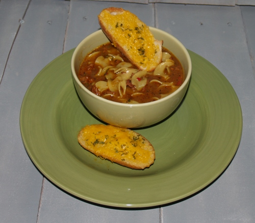 Easy Beef Pasta Soup from Kelli's Kitchen