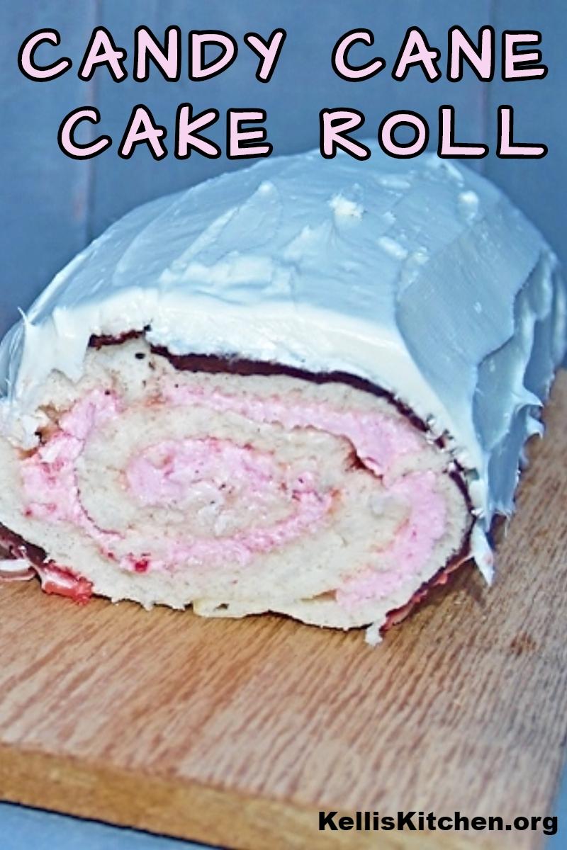 CANDY CANE CAKE ROLL via @KitchenKelli