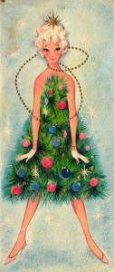 Christmas girl covered by xmas tree
