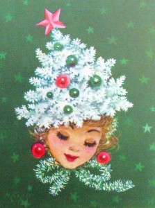 Christmas girl with tree as hat