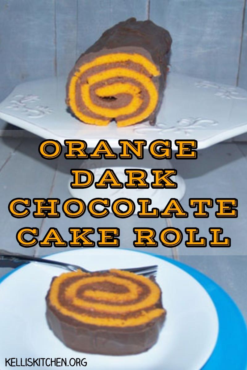 ORANGE DARK CHOCOLATE CAKE ROLL via @KitchenKelli