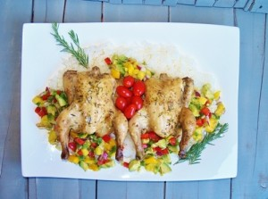 Cornish Hens with Mango Avocado Salsa for #MothersDay #HealthySpring #reciperoundup