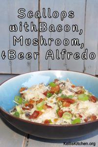Scallops with Bacon Mushroom, & Beer Alfredo