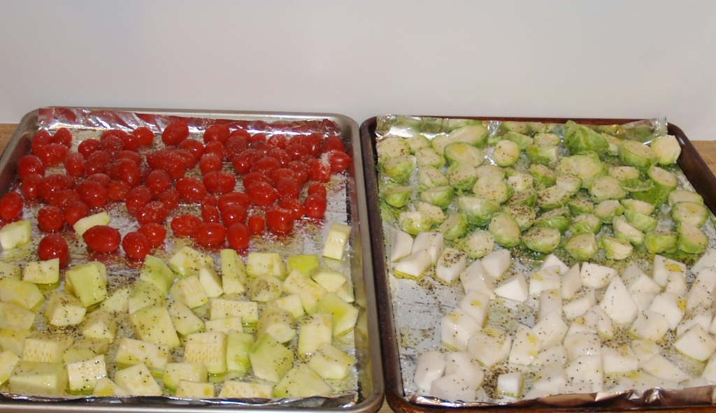 Sheet Pan Brussel Sprouts, Turnips, Zucchini & Tomatoes