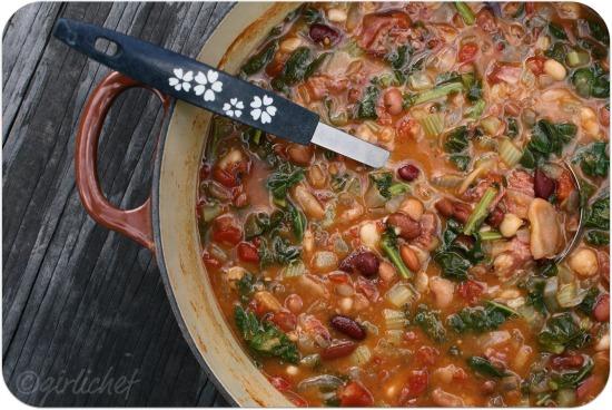 15-Bean Soup w Smoked Pork & Greens