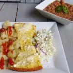 Beans, Potatoes, Slaw and Cornbread