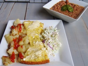 Beans, Potatoes, Slaw and Cornbread