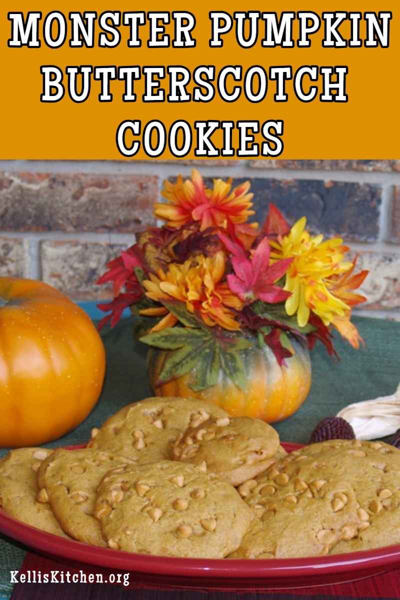 MONSTER PUMPKIN BUTTERSCOTCH COOKIES via @KitchenKelli