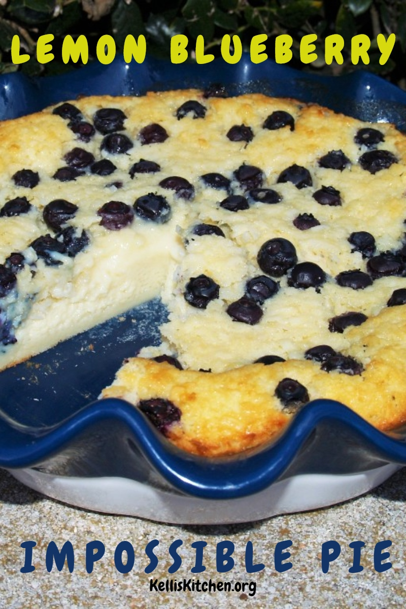 LEMON BLUEBERRY IMPOSSIBLE PIE via @KitchenKelli