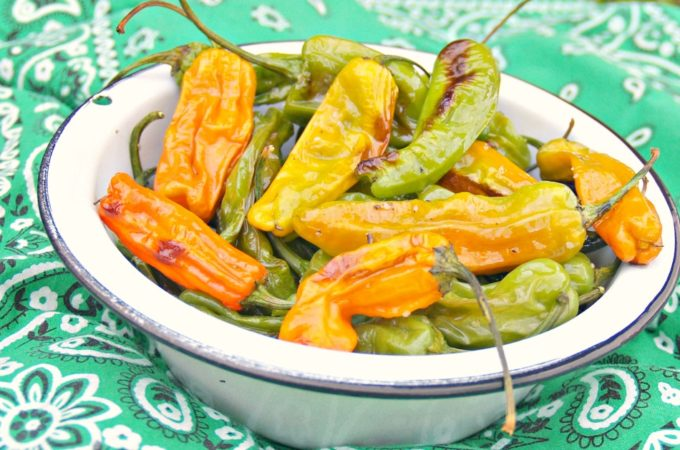 Sheet Pan Shishito Peppers with Garlic Aioli