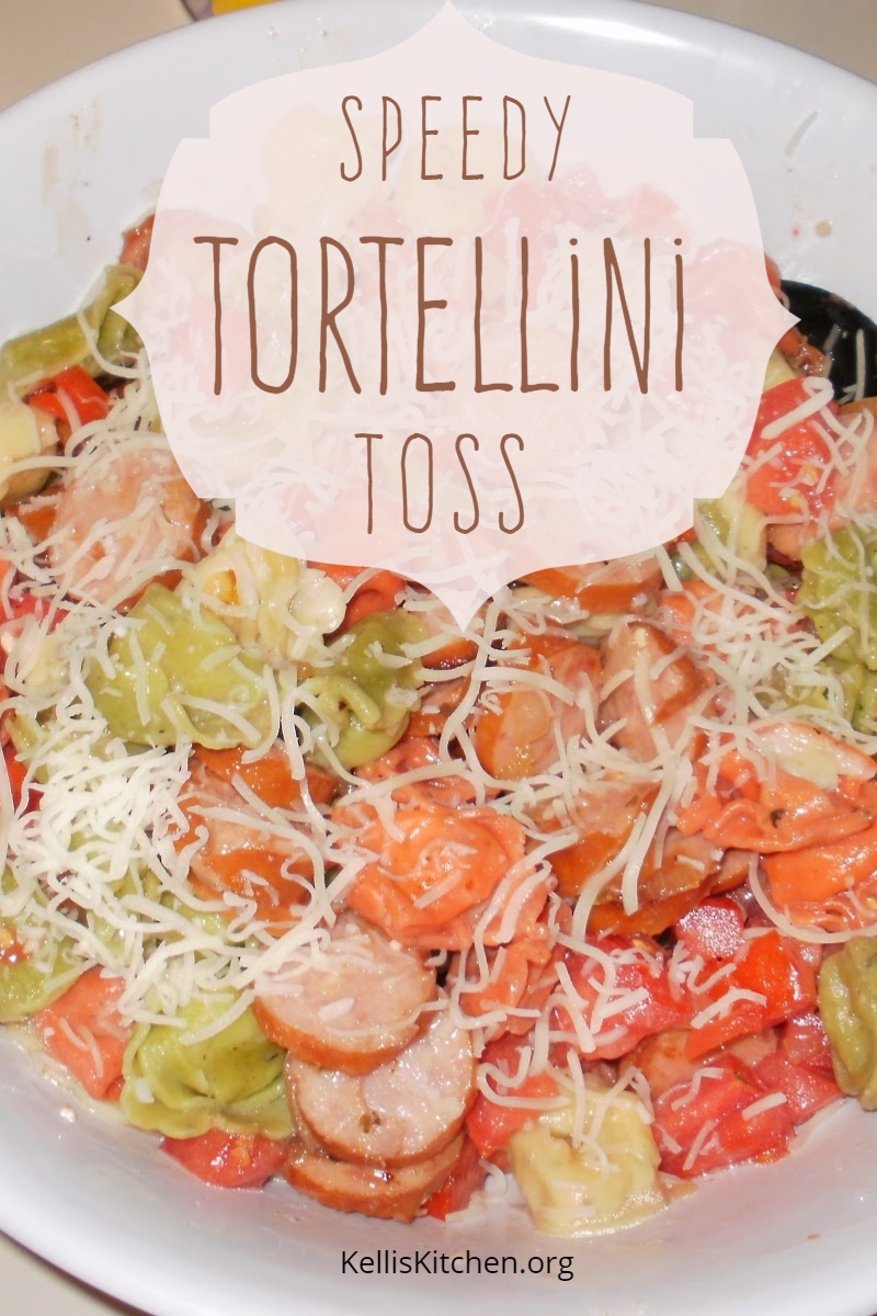 Speedy Tortellini Toss is great served as a hot main dish or cold as a pasta salad.
