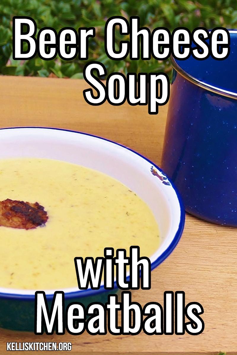 Beer Cheese Soup with Meatballs via @KitchenKelli