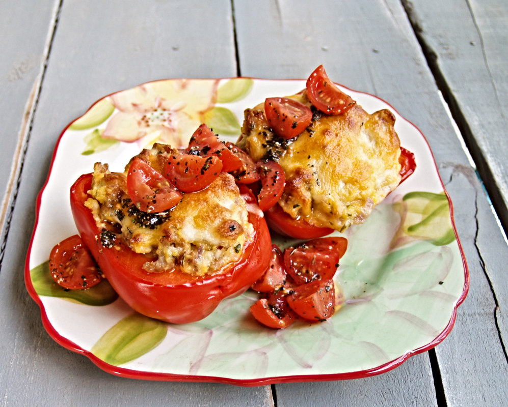 Stuffed Peppers with Sausage and Grits