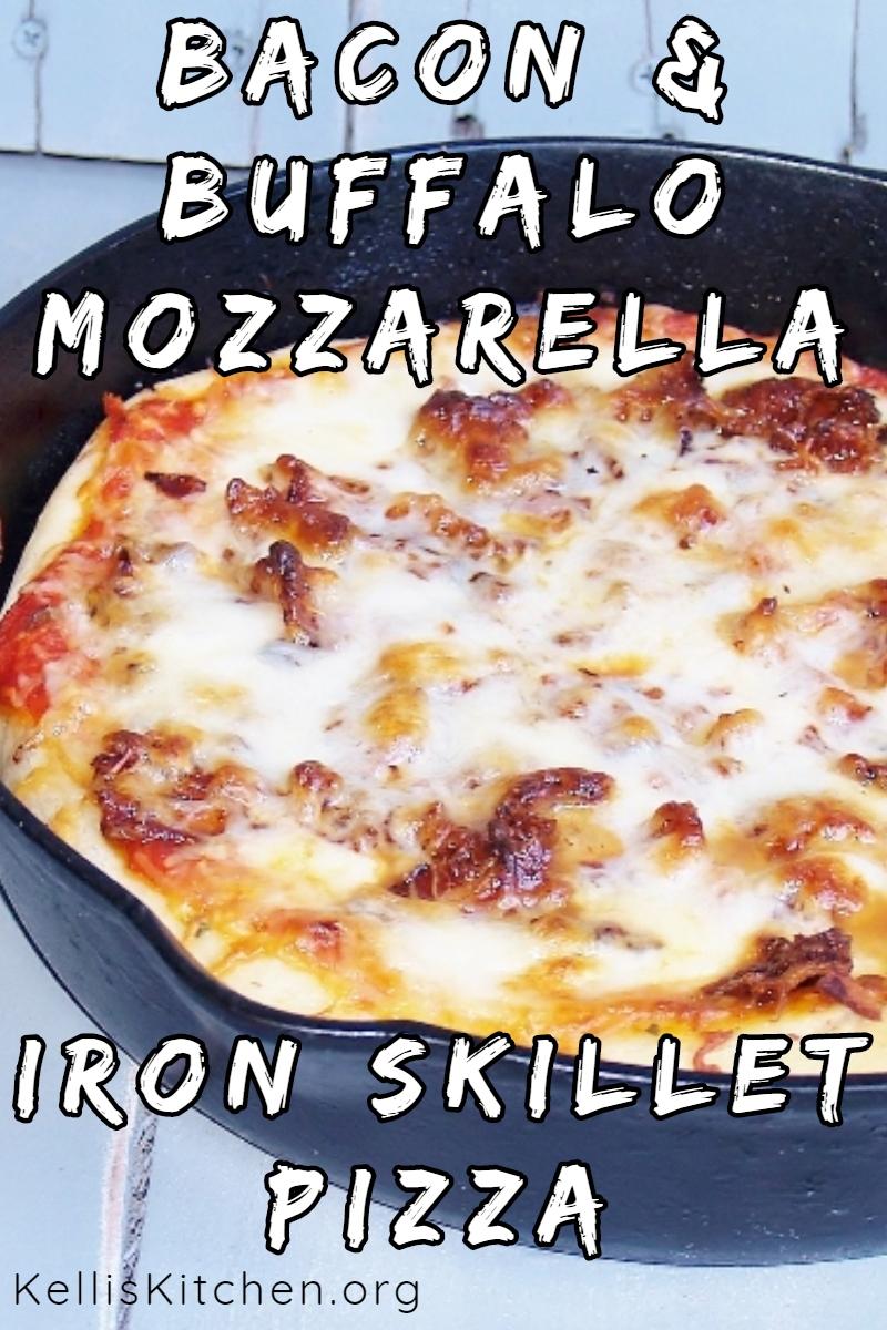 Bacon & Buffalo Mozzarella Iron Skillet Pizza via @KitchenKelli