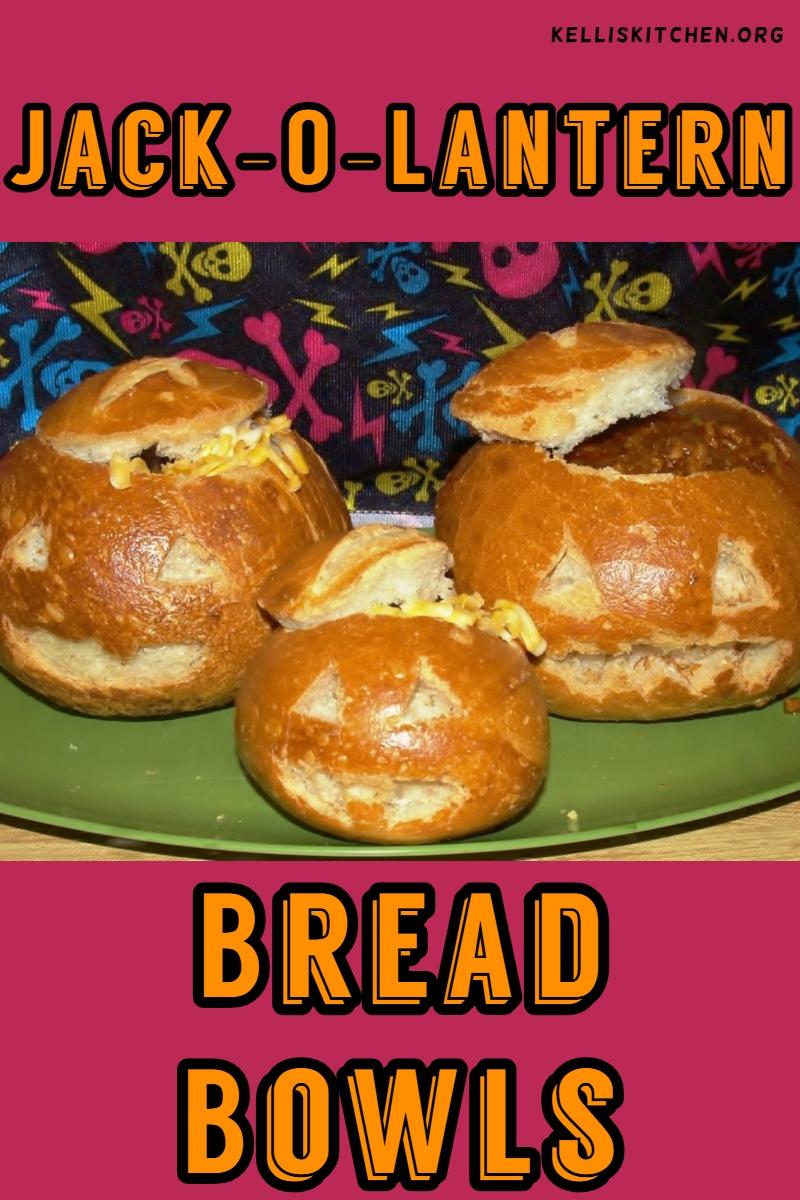 Jack-O-Lantern Bread Bowls via @KitchenKelli