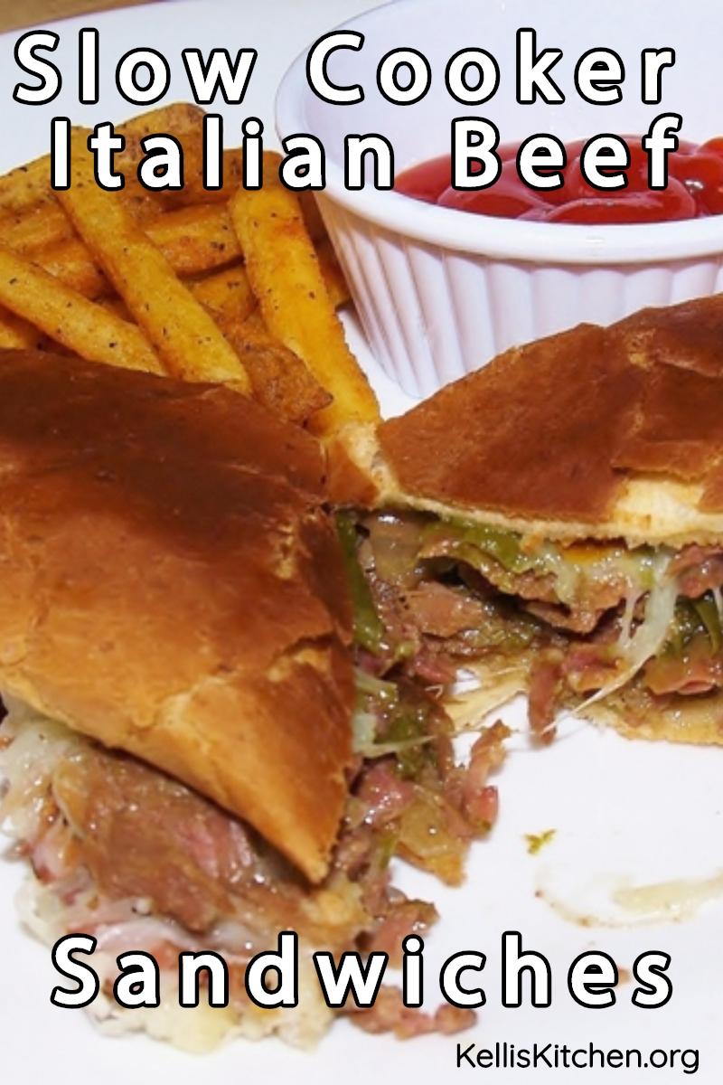 Slow Cooker Italian Beef Sandwiches via @KitchenKelli